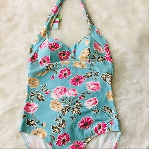 NWT Joules Blue Floral Halter Top Bathing Suit